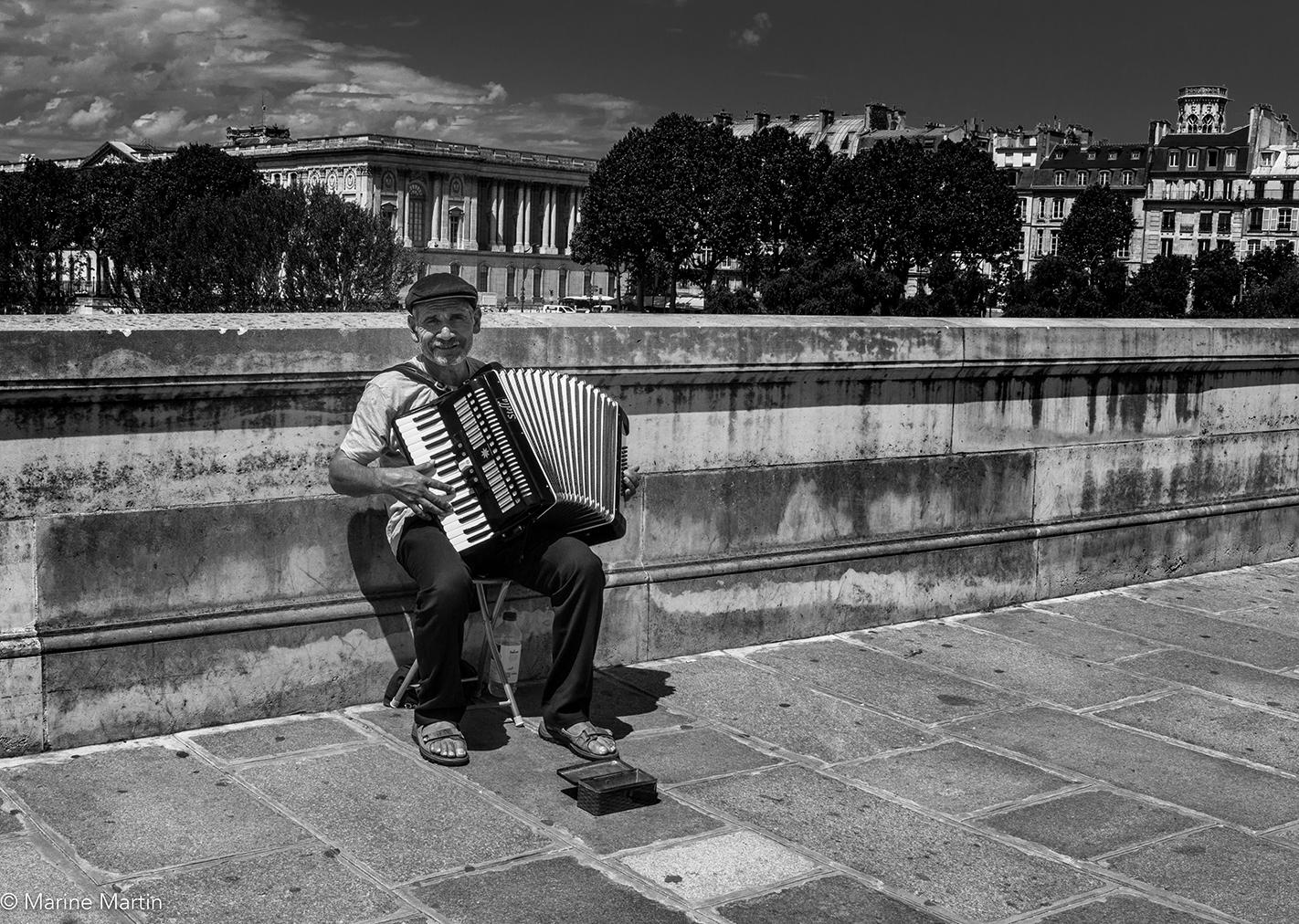 Journée à Paris : Accordéoniste sur le Pont des arts à Paris