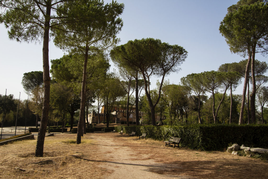 vue du parc de la villa Borghese à Rome