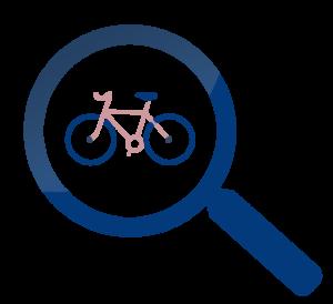 loupe avec un vélo de route à l'interieur - cyclisme